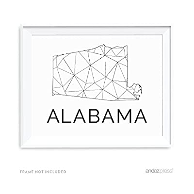 Andaz Press Modern Black and White State Wall Art Prints, 8.5x11-inch, 1-Pack, Unframed