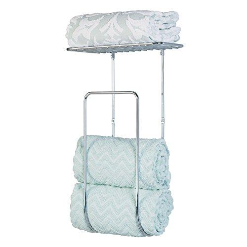 Chrome Shelf Rack (mDesign Wall Mount Towel Rack With Shelf for Bathroom or Linen Closet - Chrome)