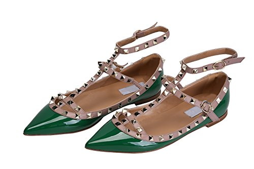 cheap price for sale recommend for sale Jiu du Women's Sexy Ankle Strap Flats Shoes Pointed Toe Fashion Rivets Party Shoe Green Patent Pu cheap nicekicks countdown package get to buy for sale e1oL2t