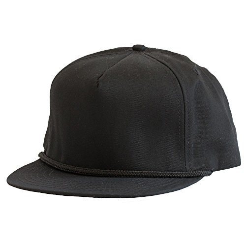 (Levine Hat Co 100% Cotton Twill Structured Baseball Cap with Rope Accent Adjustable Size (3+ Colors) (One Size, Black))