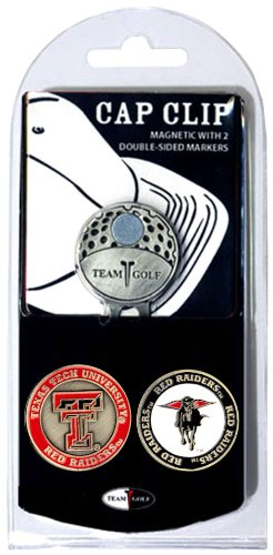 Team Golf NCAA Texas Tech Red Raiders Golf Cap Clip with 2 Removable Double-Sided Enamel Magnetic Ball Markers, Attaches Easily to -