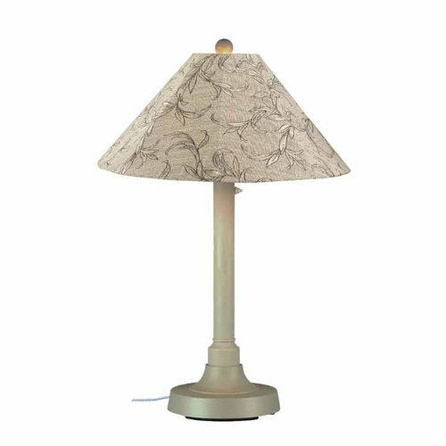 Patio Living Concepts San Juan 34 in. Outdoor Bisque Table Lamp with Bessemer Shade (Lamp Outdoor Bisque Table)