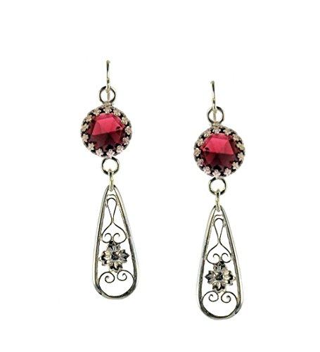 Antique Style Rose Cut Garnet Floral Filigree Drop Earrings in Sterling Silver, Approx. 4.0cttw