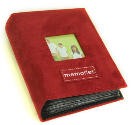 4' X 6' Memories Embroidered - 100 Pocket Patch Faux Suede Photo Album, with Frame, Burgundy