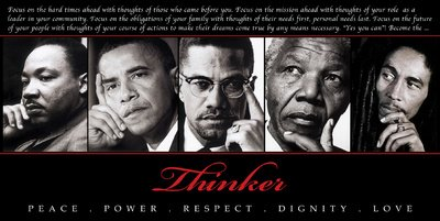 Thinker (Quintet): Peace, Power, Respect, Dignity, Love Art Poster Print, 36x18 King, Obama, Malcom X, Mandela, Marley