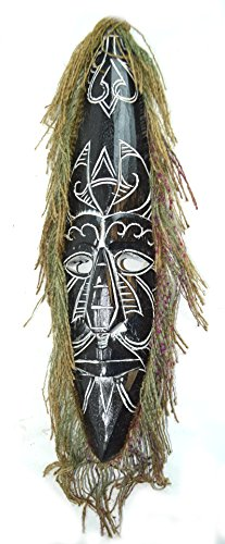 Mask Hanging Wall Tribal - AFRICAN HAND CARVED WOODEN TRIBAL MASK with HAIR WALL DECOR