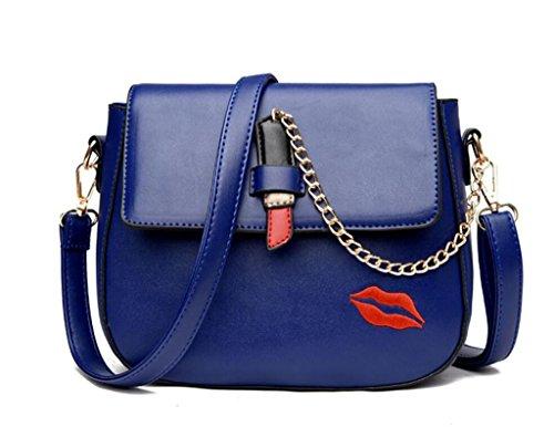 Red Single Bag Pu Deepblue Labbra colori Messenger Chain Bag Work Shopping Quattro Shoulder Fashion Leather Women Bao 5PAwqf4q