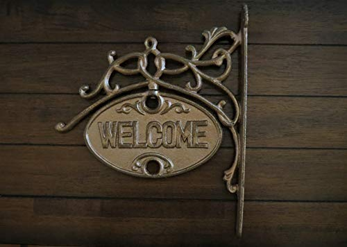 Entrance Aged Iron - Scrolled Welcome Goodbye Sign Entrance Wall Decor Aged Copper or Pick Color