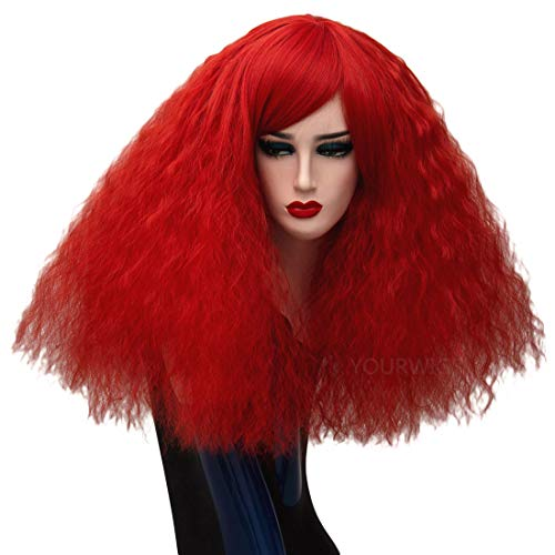 (ELIM Fluffy Short Curly Wigs Red Cosplay Wig Halloween Costume Wigs Synthetic Hair Oblique Bangs for Women with Wig Cap)