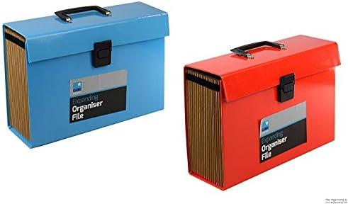 Expandiendo organizador archivo – Rojo/Azul A4 documentos tamaño folio carpeta 19 bolsillo caja de: Amazon.es: Hogar