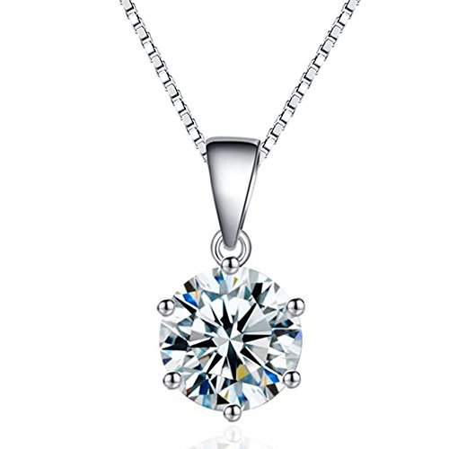SWOPAN 925 Sterling Silver Pricess Cut Cubic Zirconia Pendant Necklaces for Women 6 Prong 2 Carat Round Simulated Diamond CZ Pendant Platinum Plated Crystal Necklace -
