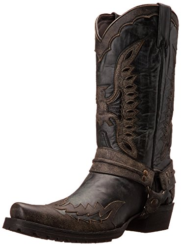 Stetson Men's Outlaw Eagle Western Boot, Distressed Black, 9.5 M US - The Western Outlaw Hat