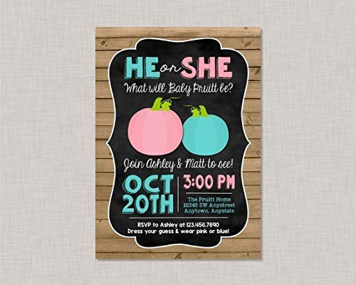 Wood Sign Pumpkin Gender Reveal Invitation Gender Reveal Invitation Halloween Gender He Or She Boy Girl Primitive Country Decor Handmade Plaque Sign -