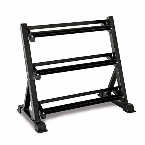 Sporting Goods Fitness Running Yoga Strength Gym Training 3 Tier Weight Storage Dumbbell Rack Horizontal Sturdy Black Steel Stand Equipment 660 Pounds Body Building Crossfit Weight Lifting