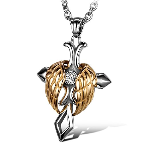 (Oidea Mens Womens Stainless Steel Angel Wing Celtic Cross Pendant)
