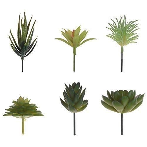 BCP 6 Pcs Artificial Cute Green Succulent Plants Succulents Flower Unpotted DIY Materials for Home Decoration Flower Arrangement-Type 2