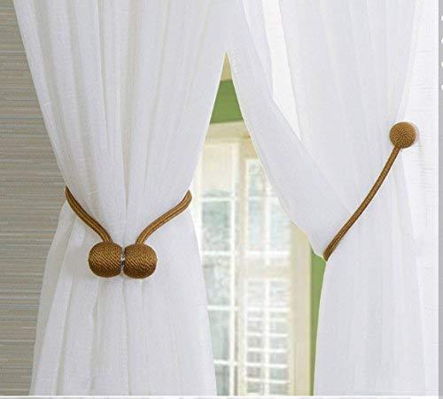 DBlosp Magnetic Curtain Tiebacks Convenient Drape Tie Backs,Home Office Decorative Rope Holdbacks//Holder for Window Sheer and Blackout Panels Curtain Decor Beige 4 PCS