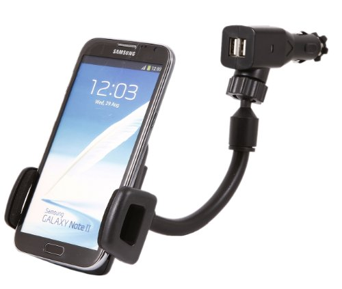 iTALKonline Universal 360 Degrees Rotating GooseNeck Car Mount Suction Holder with 2.1A Dual USB Ports for HTC Vivid