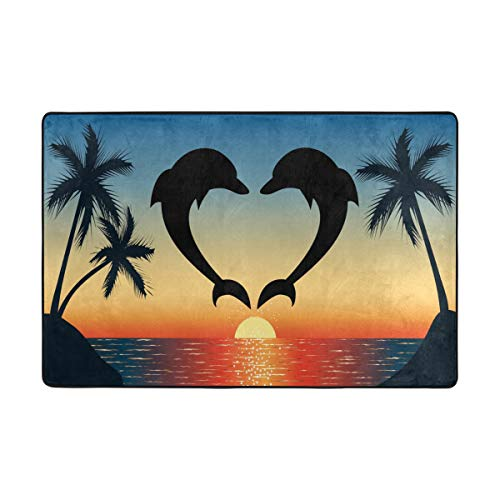 LittleLuck Two Dolphins Jumping Out of Water The Ocean Shaped Heart Palm Tree Area Rug Rugs Decorative Polyester Floor Mat with Non-Skid Backing 36x24 inch