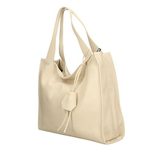 in a Pelle Bag Spalla Aren Beige 34x31x10 Vera da Borsa Cm italy Shoulder in Made Donna tPqqwf4