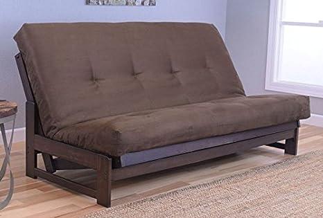 Colorado Reclaim Mocha Frame and Mattress Set w/ Choice of Fabrics, 7 Inch Innerspring Futon Sofa Bed Full Size Aspen Style (Frame w/ Suede Chocolate)
