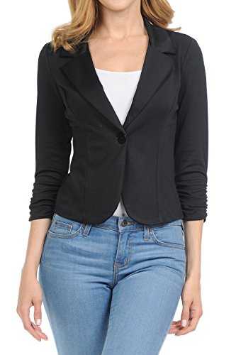 Black Fitted Blazer (YourStyle Casual Work Solid Candy Color Blazer-Made in USA (Black,Small))