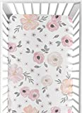 Sweet Jojo Designs Blush Pink, Grey and White Baby or Toddler Fitted Crib Sheet for Watercolor Floral Collection