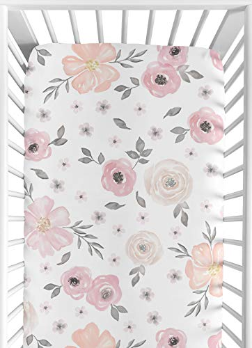 Sweet Jojo Designs Blush Pink, Grey and White Baby or Toddler Fitted Crib Sheet for Watercolor Floral Collection ()