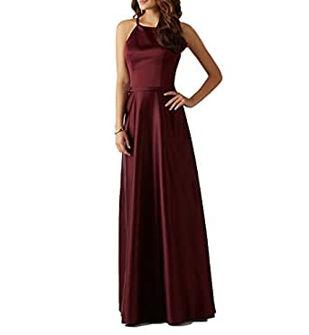 Lafee Bridal Women's Halter Bridesmaid Dresses A-Line Long Wedding Maxi Dress Dark Red Size 4