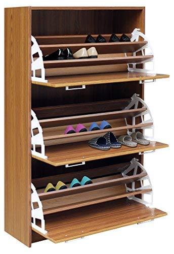 4D Concepts 76153 Deluxe Triple Shoe Cabinet (Light Walnut), 11.4