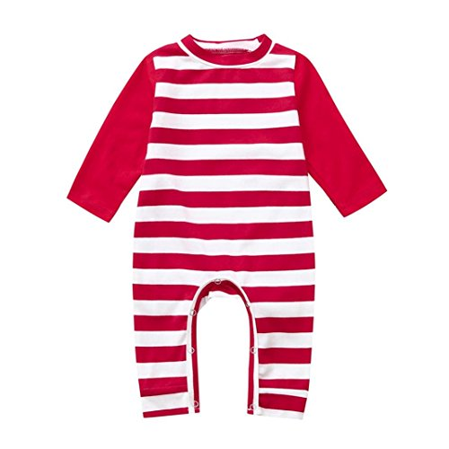 SUNTEAMO Newborn Baby Boys Girls Long Sleeve Striped Romper Jumpsuit Clothes Outfits (Red, (Doll Outfit Crochet Pattern)