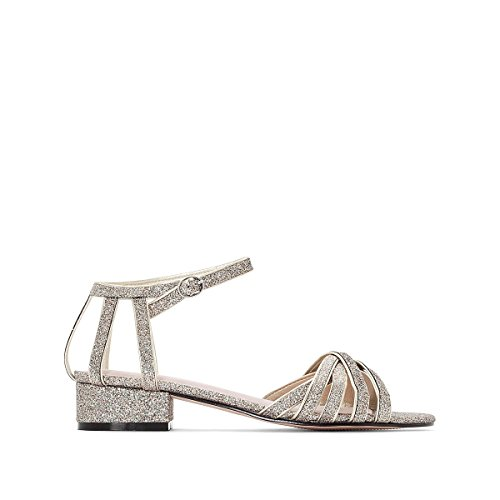 La Redoute Womens Glitter Strappy Sandals with Low Heel Gold-Coloured