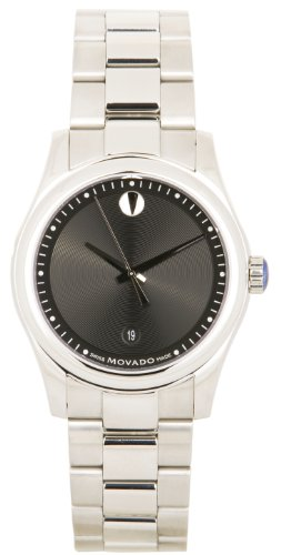 Sportivo Mens Stainless Steel Watch - Mens Watch Movado 0606481 Stainless Steel Sportivo Quartz Black Museum Dial