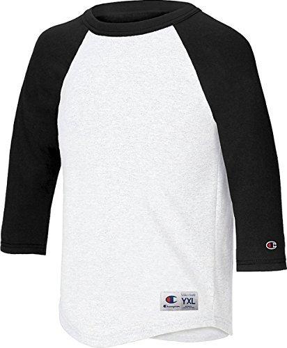 Champion Youth Raglan Baseball T-Shirt, White/Black, S