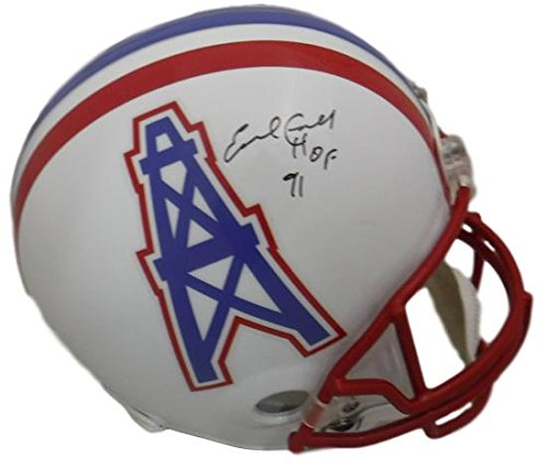 Earl Campbell Autographed Houston Oilers Full Size Replica Helmet HOF (in Black) (Replica Pro Line Helmet)