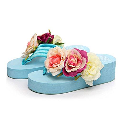 Été avec Fleurs Sandales Talon a Femmes Flip de Plage Tongs Compensees Flops Bleu Compensé Clair Pantoufle waHvR1nnq
