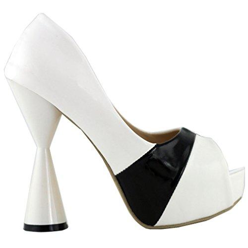 Show Story Trendy negro blanco Peep Toe cono talón bombas de plataforma de 5pulgadas, lf40803 blanco