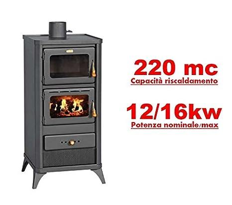 Estufa a leña con horno incorporado, 12/16 kW, modelo Lift: Amazon.es: Bricolaje y herramientas