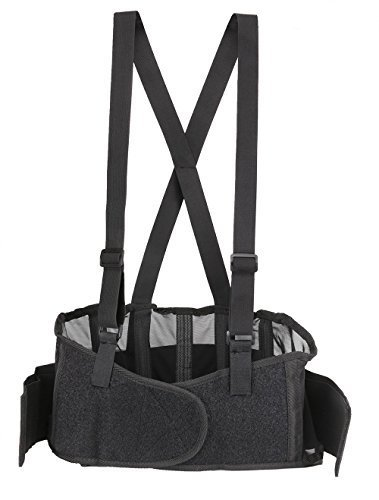 Back Brace Lumbar Support with Adjustable Suspenders, front Velcro for Easy and Quick Fastening, High Quality Breathable Back Panel made with Spandex Material, Removable Straps. (Size L) Wide Back Panel