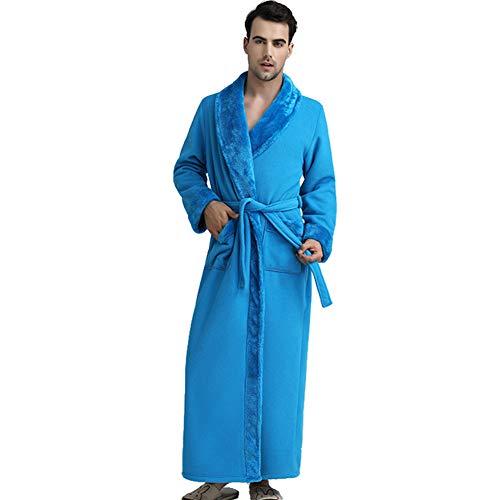 Casa Pigiama Da Addensare Notte Lungo Accappatoio Spa Inverno Autunno Uomo Con Kimono Camicia Per Cintura Azzurro Invernale Hotel gAURwfq