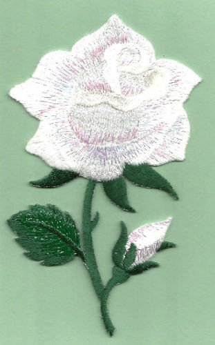Rose ~ White Rose W/bud Shimmery Embroidered Iron on Applique Cool Patch Iron On