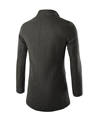 Chaqueta Ejercito Trench Parka Slim Coat Abrigo Hombres Manga Verde Elegante Larga DianShao Casual qp4ApT