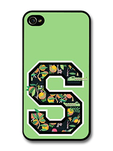 Letter S Customized Name See Through Cool Hipster Style Flowers Background coque pour iPhone 4 4S