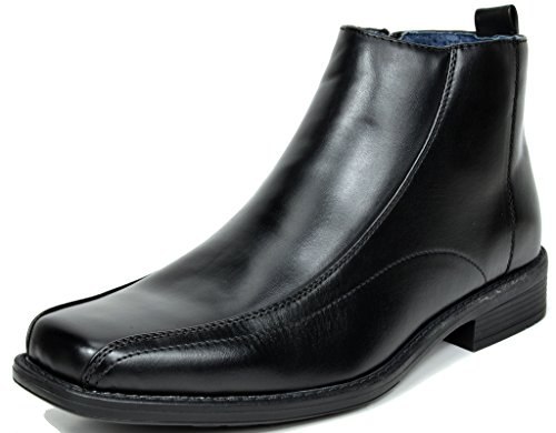 BRUNO MARC MODA ITALY YORK-2 Men's Classic Ankle High Casual Faux Leather Easy Slip On Square Toe Dress Boots BLACK SIZE 11