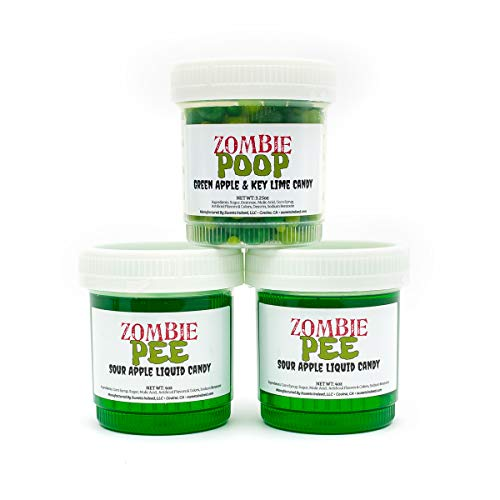 Candy Halloween Funny (Zombie Waste Candy Fun 3-Pack | Zombie Poop and Pee | Allergen Free! | Made In The USA)