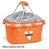 PICNIC TIME 645-00-103-592-0 University of Virginia Embroidered Metro Picnic Basket, Orange