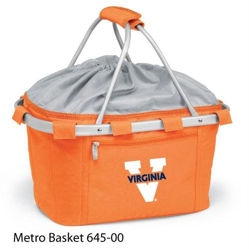 PICNIC TIME 645-00-103-592-0 University of Virginia Embroidered Metro Picnic Basket, Orange by PICNIC TIME