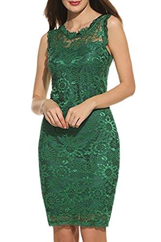 Zilcremo Mujer Elegante De Encaje Sin Mangas Cã³Ctel Vestido Bodycon Parte Verde