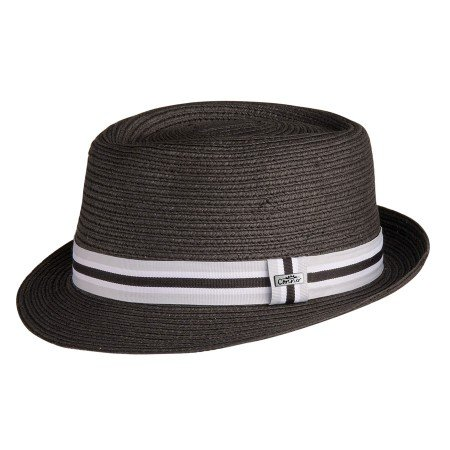 5th Avenue Straw Pork Pie Fedora Black - Shopping Avenue 5th