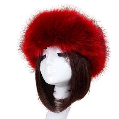 TAORE Womens Winter Hat Faux Fur Headband Cap Headgear Earwarmer Earmuff Snow Hat (C-Wine Red (Long -